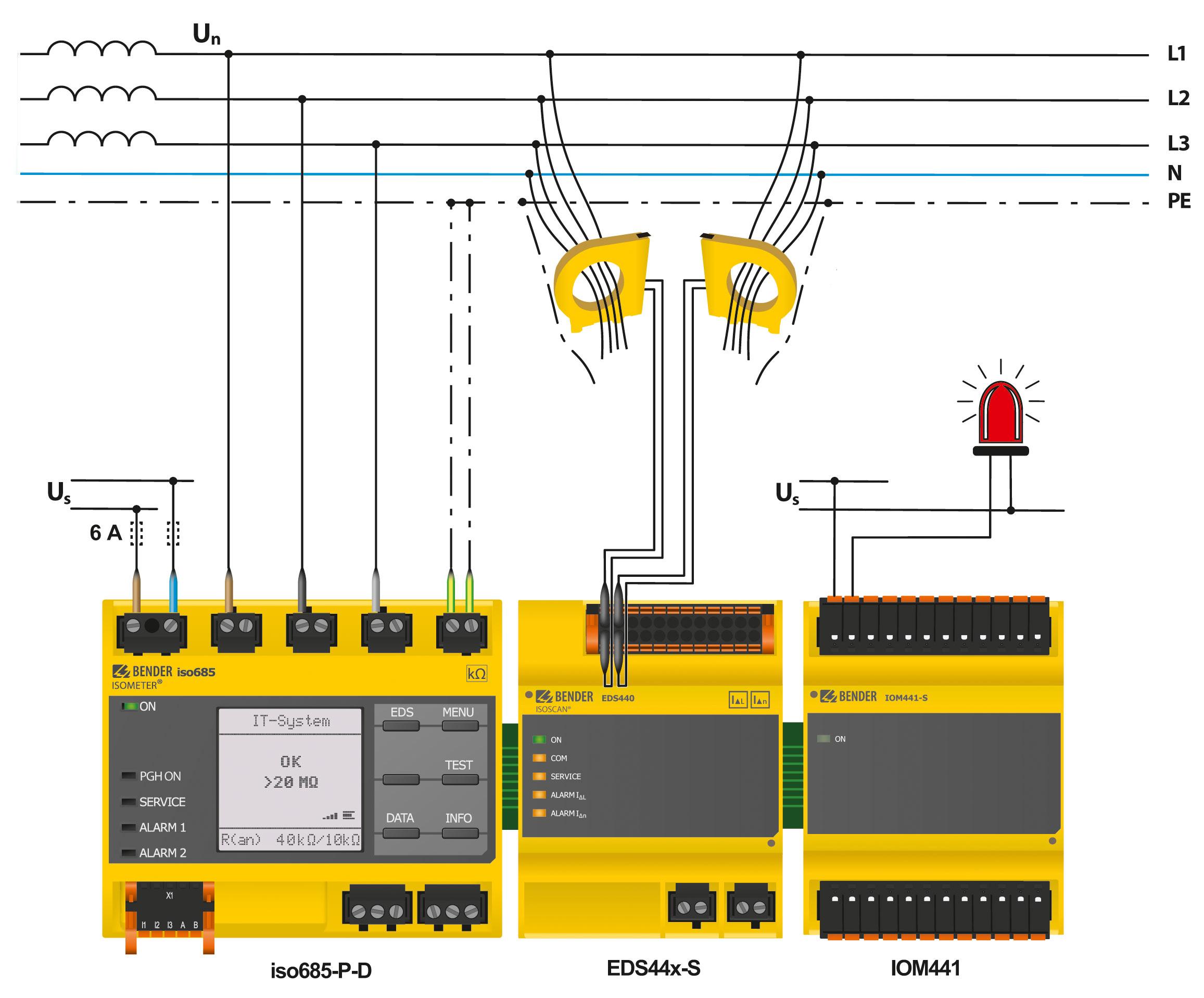 Afbeelding: Relaisuitbreiding van de EDS44x met IOM441